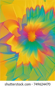 Abstract colorful line art and painting background. Energetic macro flower inspirational concept.