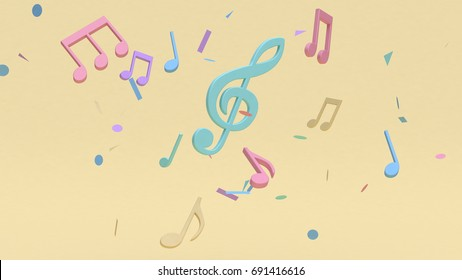 abstract colorful many music note,key sol cartoon style soft yellow minimal background 3d rendering