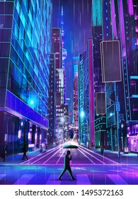 Abstract colorful neon city with people walking on street illustration