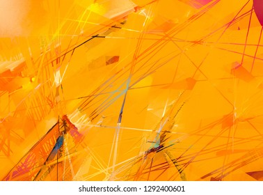 Abstract colorful oil, acrylic painting on canvas texture. Hand drawn brush stroke, oil color paintings background. Modern art oil paintings with yellow, red color. Contemporary art for background