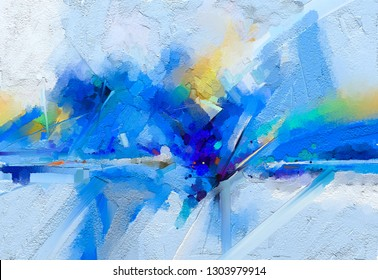 Abstract colorful oil, acrylic painting on canvas texture. Hand drawn brush stroke, oil color paintings background. Modern art oil paintings with blue, yellow color. Contemporary art for background