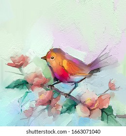Abstract colorful oil, acrylic painting of bird and spring flower. Modern art paintings brush stroke on canvas. Illustration oil painting, animal and floral for background.