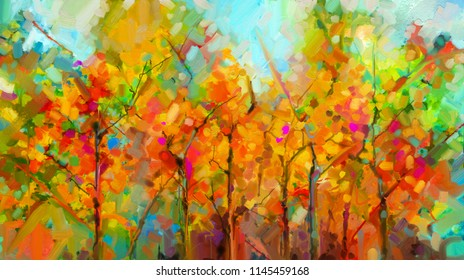 Abstract colorful oil painting landscape on canvas. Semi- abstract of tree in forest. Green and red leaves with blue sky. Spring ,summer season nature background. Hand painted Impressionist style