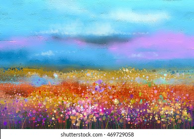 Abstract colorful oil painting landscape background. Semi abstract image of wildflower and field. Yellow and red wildflowers at meadow with blue sky. Spring, summer season nature background.