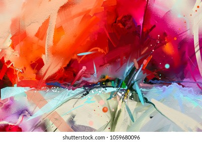 Abstract colorful oil painting on canvas texture. Hand drawn brush stroke, oil color paintings background. Modern art oil paintings with green, red and blue. Abstract contemporary art for background