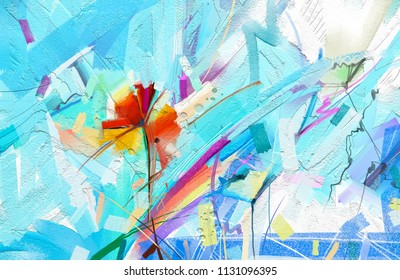 Abstract colorful oil painting on canvas. Semi- abstract image of flowers, in green and red with blue color. Hand drawn brush stroke, oil color paintings. Modern art oil paintings for background