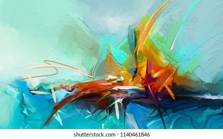 Peinture abstraite à l'huile colorée sur texture de toile. Semi-image abstraite de l'arrière-plan de peintures de paysages. Peintures à l'huile d'art moderne jaune, rouge et bleu. Art abstrait contemporain pour fond