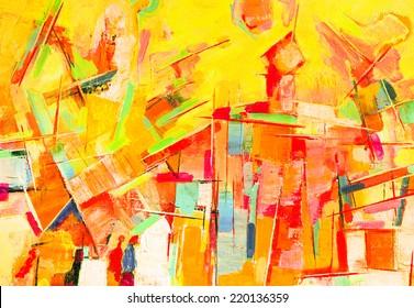Peinture abstraite à l'huile colorée sur toile