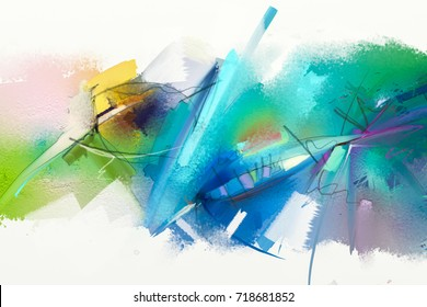 Abstract colorful oil painting on canvas texture. Hand drawn brush stroke, oil color paintings background. Modern art oil paintings with green, blue color. Abstract contemporary art for background