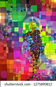 Abstract colorful painting. Woman silhouette in geometric shapes. 3D rendering