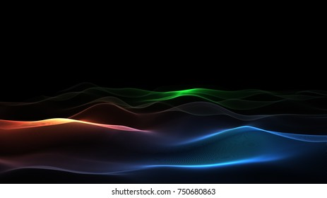 Abstract Colorful Particles Mountains, 3D Rendering