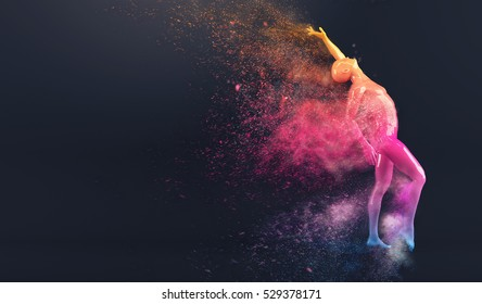 Abstract colorful plastic human body mannequin figure with scattering particles over black background. Action dance pose. 3D rendering illustration