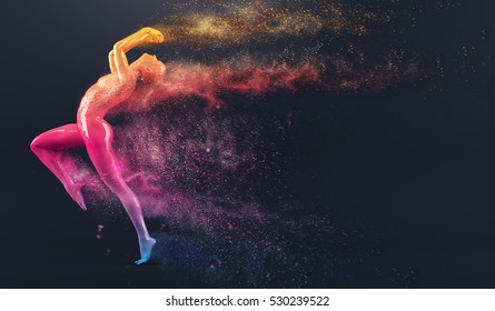 Abstract colorful plastic human body mannequin figure with scattering particles over black background. Action running and jumping pose. 3D rendering illustration