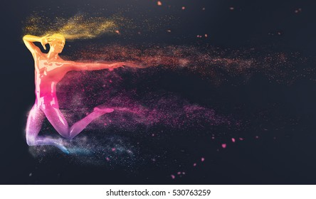 Abstract colorful plastic human body mannequin with scattering particles over black background. Action jumping ballet pose. 3D rendering illustration