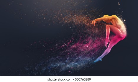 Abstract colorful plastic human body mannequin with scattering particles over black background. Action dance jump ballet pose. 3D rendering illustration