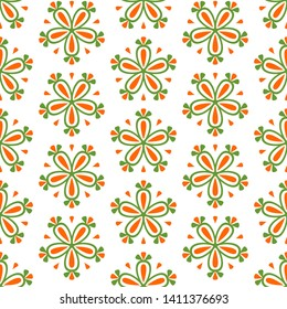 Abstract colorful seamless floral pattern with flowers on white background