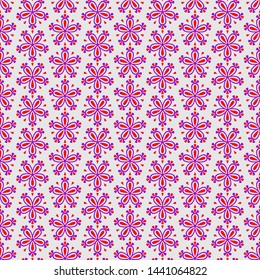 Abstract colorful seamless floral pattern with pink flowers on grey background