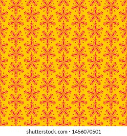 Abstract colorful seamless floral pattern with red flowers on yellow background