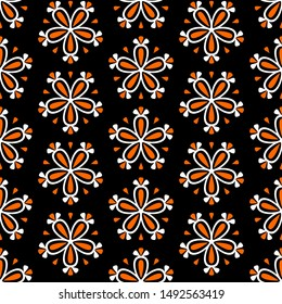 Abstract colorful seamless floral  pattern with flowers on black background