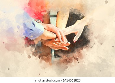 Abstract colorful shape on handshake teamwork for business concept on watercolor illustration painting background.