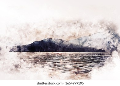 Abstract colorful shape on mountain peak and river landscape on watercolor illustration painting background.