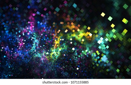 Abstract colorful square bokeh. Beautiful background for art projects, business, template, banners