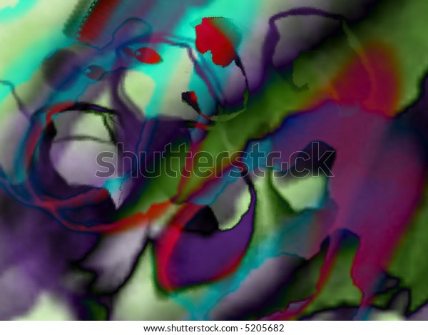 Abstract, colorful, stained glass resembling background - digital illustration