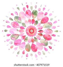Abstract colorful sun watercolor illustration