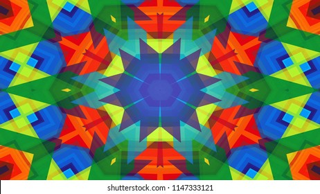 Abstract Colorful Symmetric Pattern Ornamental Decorative Kaleidoscope Movement Geometric Circle and Star Shapes