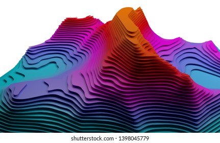 Abstract colorful terrain structure, 3d render / rendering.