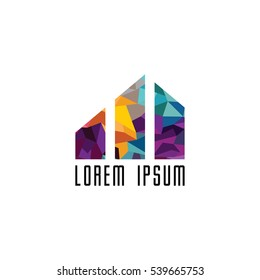 Abstract colorful triangle geometrical logo logotype template