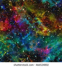 Abstract colorful universe. Nebula night starry sky. Multicolor outer space. Glittering galactic texture background. Seamless illustration.