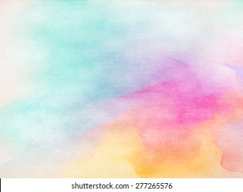 Abstract colorful water color for background. Grunge paper texture. Vintage style.