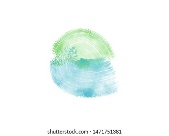 Abstract Colorful Watercolor on White Background. Illustration Digital.