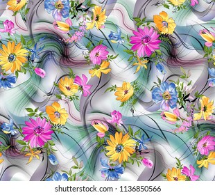 Abstract colorfull pattern Marble effect Flower Pattern