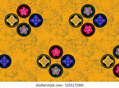 Abstract colorfull pattern With yellow  background