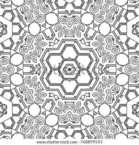 Abstract Coloring Page Drawing Monochrome Mandala Stock Illustration