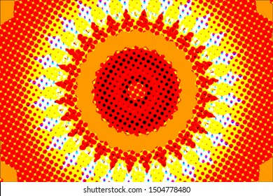Abstract colors, shapes and patterns with comic book style pop art dots and kaleidoscope style. Shape of an sun.