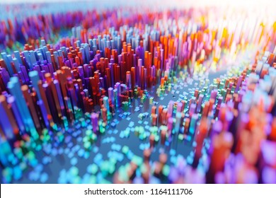Abstract colourful voxel background,cyberspace game city. Internet of Things. Futuristic technology background  ,3D illustration.