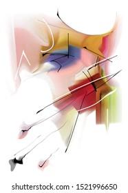 Composition abstraite des belles lignes et des taches colorées