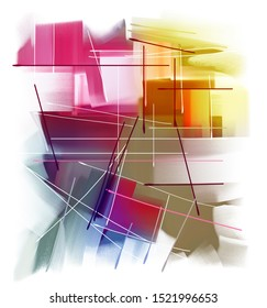 Abstract composition of beautiful colored lines and spots