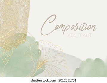 Abstract composition, border of watercolor spots, green and purple colors, placers, gold sequins and a contour pattern of cotton
