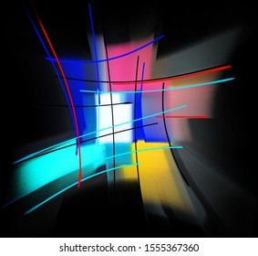 abstract composition of colored strokes and stripes