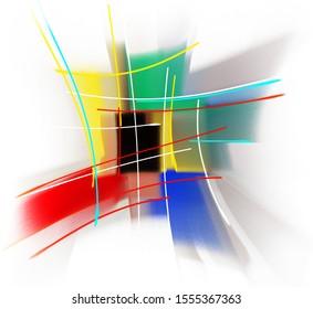 composition abstraite de traits et de bandes colorés