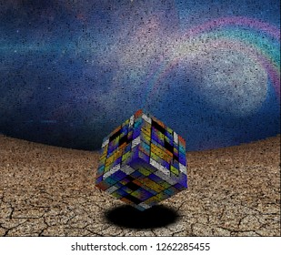 Abstract composition. Colorful 3D cube. Image composed entirely of words, text. 3D rendering