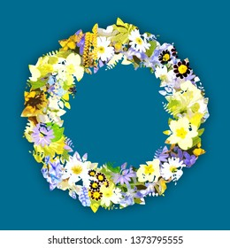 Abstract Composition Colorful floral frame
