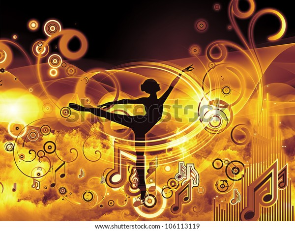 Abstract composition of girl silhouette, notes, lights and abstract design elements suitable as design element in projects related to music, song, performance and dance
