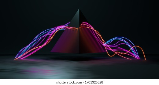 Abstract composition of glowing wires and pyramid on a dark background. 3d render / rendering