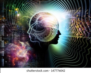 Abstract composition of human feature lines and symbolic elements suitable as element in projects related to human mind, consciousness, imagination, science and creativity