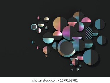 Abstract composition with multicolored disks on a black background. 3D render / rendering.